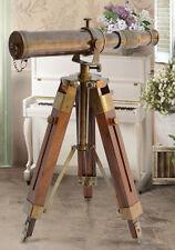 Telescopio Nautico Antico Riproduzione in legno treppiede binoculare Spyglass