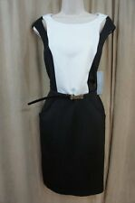 London Times Dress Sz 12 Black White Sleeveless Belted Waist Business Cocktail