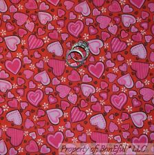 BonEful FABRIC FQ Cotton Quilt Red Pink HEART Valentine Candy Dot Flower Calico