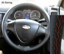 FOR HYUNDAI COUPE 1999-08 REAL BLACK LEATHER STEERING WHEEL COVER ORANGE STITCH
