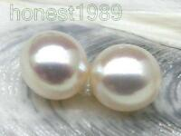 Genuine AAA+++ 10*11mm oval loose white south sea round half drilled pair pearl