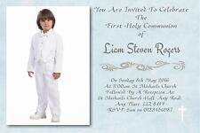 20 Personalised Boys Blue First , 1st Holy Communion Invitations / Invite
