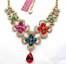 Betsey Johnson Brilliant multicolor crystal glass flower encircle Necklace#249L