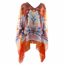 LADIES STUNNING KAFTAN BEACH SUMMER DRESS COVER UP BIKINI ORANGE CRYSTAL FLORAL