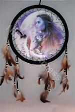 3D Bueaty & Wolf Dream Catcher w feathers wall hanging decoration ornament-28""