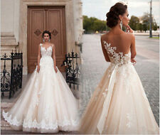 Custom-made White/Ivory lace tulle Bridal Gown Wedding Dress Size 2-28