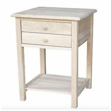 Unfinished Small Side Lamp End Table Night Stand Wood Accent Furniture Drawer