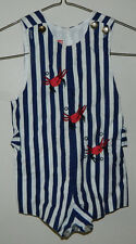Vintage Hobby Horse Baby Boy Sleeve Overall Striped Multi-Color Size 0/3