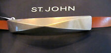 """NEW ST JOHN KNIT WOMENS BELT SZ S 32"""" TO 34"""" BROWN CAMEL LEATHER PEWTER  BUCKLE"""