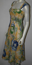 RALPH LAUREN Yellow Blue Green Silk Orchid Tropical Dress 6