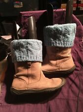 Keen Women's Leather Boots Side Zipper W/ Blue Knit Top Beige Sz 8