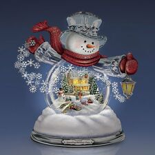 Thomas Kinkade Spreading Holiday Cheer Snowman Snowglobe Lighted Musical NEW