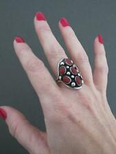 Vintage Navajo Silver Salmon Coral Ring Signed