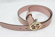 AUTH $320 Gucci Women Pink Patent Leather GG Logo Belt 85/34