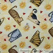 BonEful Fabric FQ Cotton Quilt Yellow CAT SUN Red Heart Country Bird Calico Love