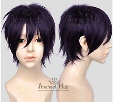 Noragami Yato Cosplay Wig Short Purple Synthetic Straight Full Wigs for Costume
