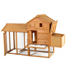 "83"" Wooden Chicken  House Coop Hen Pet Animal Poultry Cage Rabbit Hutch w/Run"
