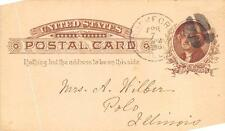 SCOTT UX8 POSTAL CARD ROCKFORD ILLINOIS WOMAN'S BOARD OF MISSIONS CANCEL 1886