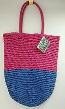 Roxy  Pink And Blue Snap Straw bag
