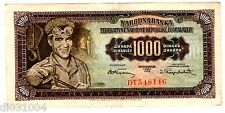 Yougoslavie Yougoslavia  Billet 1000 Dinara 1955 P71 BON ETAT