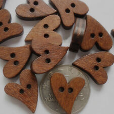 100 Small Brown Wooden Heart Shaped Buttons For Scrapbooking Swing Craft JUST