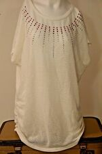 SJS Women's Tunic~Knit Top~Size 1X~Short Sleeve~Boat Neck~Rhinestones~NWOT