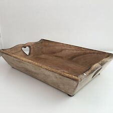 SHABBY CHIC  VINTAGE STYLE MANGO WOOD TRAY HEART RUSTIC DRESSING TABLE LOUNGE M