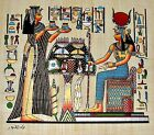 Egyptian Hand-painted Papyrus Art: Nefertari Offering Nu-Pots to Hathor 13x9""