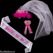 White satin bride to be tiara sash badge veil sets Hen Night Party bachelor