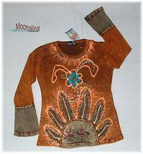 NEU* S/M* BÄRES Design PATCH Shirt HIPPIE 70er GOA Psy ETHNO Sonne KUNStHANDWERK