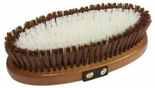 Oval Cowboy Grooming Brush Dandy Wood Nylon Strap Med Bristle Horse Tack Curry