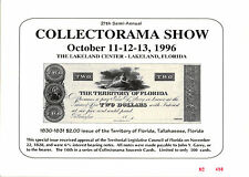 1996 Collectorama Souvenir Card (October) - Territory of Florida $2.00 - L9