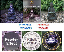 Solar Powered Pewter Effect - Buddha Statue - Warm White LED - Garden Outdoor