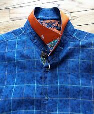 Robert Graham Blue Plaid Windowpane Flip Cuff Shirt XL button down leaf