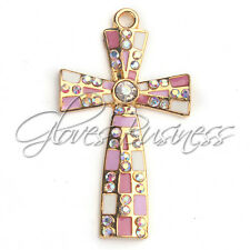 1PC 30x54mm Gold Plated Cross Rhinestone Pendant For Bubblegum Chunky Necklace