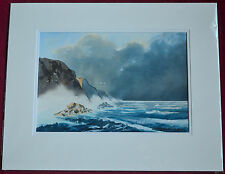 FRANK HALLIDAY ORIGINAL WATERCOLOUR PAINTING ROCKY COAST STORMY SHORELINE