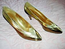 """JACOBSON'S GOLD/BRONZE LEATHER COURT SHOES 2.7"""" HEEL SIZE UK 5.5, EUR 38, US 7.5"""