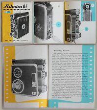 Gebrauchsanleitung Admira 8F Filmkamera Meopta Tschechoslowakei 1937 Bedienung
