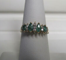 Incredible 14KT Yellow Gold Emerald & Diamond Ring Size 7 R9741