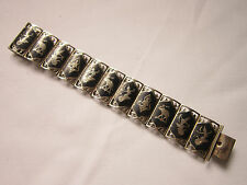 Vintage heavyweight sterling silver Siam niello bracelet