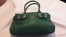 Cole Haan Pebble Leather Double Strap Green Satchel Handbag with Silver Hardware