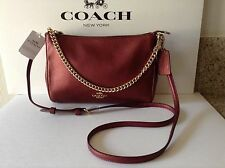 NWT Coach Metallic Pebble Leather Carrie Cross-body / Shoulder Bag Cherry F56126
