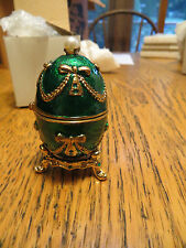 New Old Stock LeJour Faberge Egg Enameled Trinket Box With Stand Green