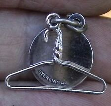 Vintage Sterling Silver Clothes Hanger Seamstress Charm & Original Hang Tag