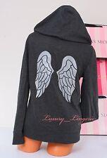 NWT VICTORIA'S SECRET VS Angel Wings Sequins Bling Logo Zip-Up Hoodie Jacket S
