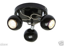 New UKEW® Modish 3 head globe Ceiling Spotlight  Black round