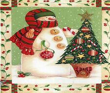 SNOWMAN  CHRISTMAS TREE HOLLY VINE  COMPUTER MOUSE PAD 9 X 7