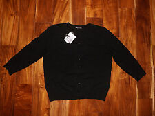 NWT Womens CABLE & GAUGE Black Cardigan Sweater 3/4 Sleeve Size M Medium
