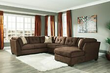 "Ashley ""Delta City"" 3 Piece Chocolate Sectional w/ Chaise Furniture 19702"