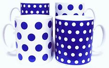 Blue Dots and Spots Mugs Set of 4 Blue Porcelain Mugs Hand Decorated in the UK